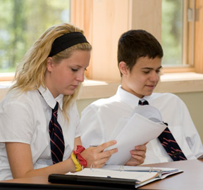 Boy and girl student
